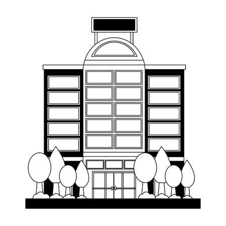 hotel building facade with trees vector illustration black and white
