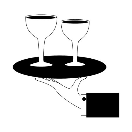 hand with tray wine glass drinks service vector illustration black and white