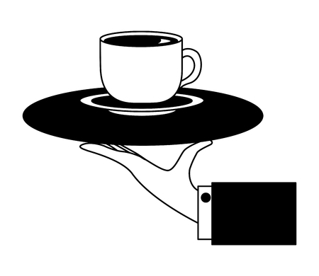 hand with tray service coffee cup on dish vector illustration black and white Foto de archivo - 104522660
