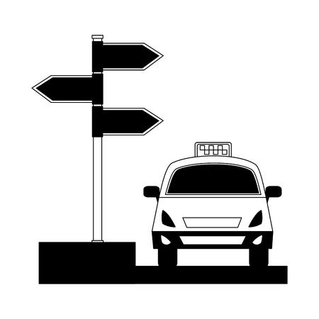 taxi service public arrow direction destination vector illustration black and white Archivio Fotografico - 114995110