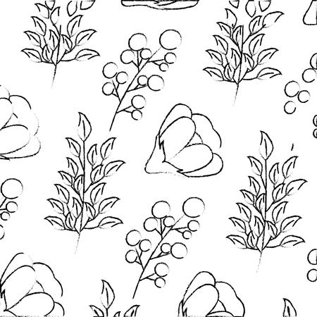 flower seeds branch decoration background vector illustration sketch