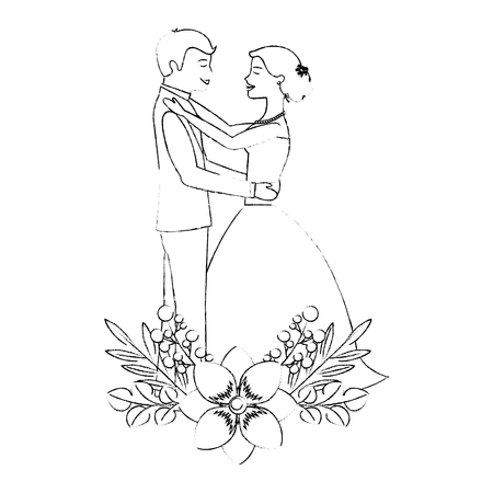 bride and groom embraced wedding day flowers decoration vector illustration sketch