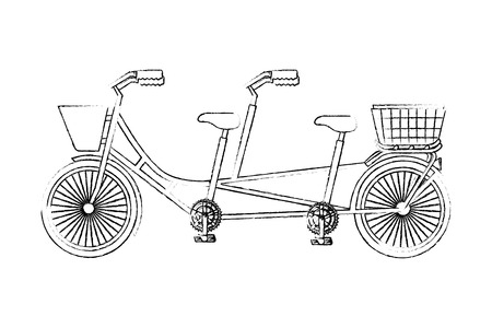 classic tandem bicycle with basket vector illustration sketch 向量圖像