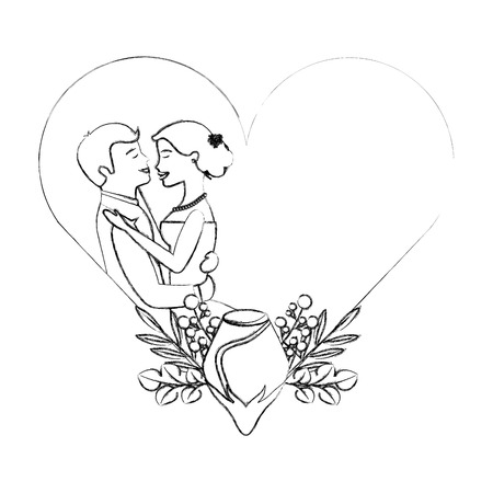 couple wedding day flowers in heart love vector illustration sketch Ilustração