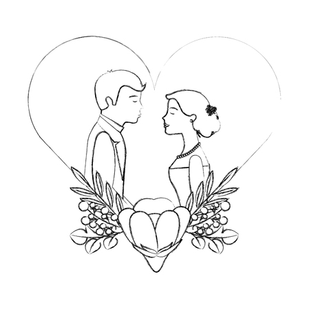 couple wedding day flowers in heart love vector illustration sketch  イラスト・ベクター素材