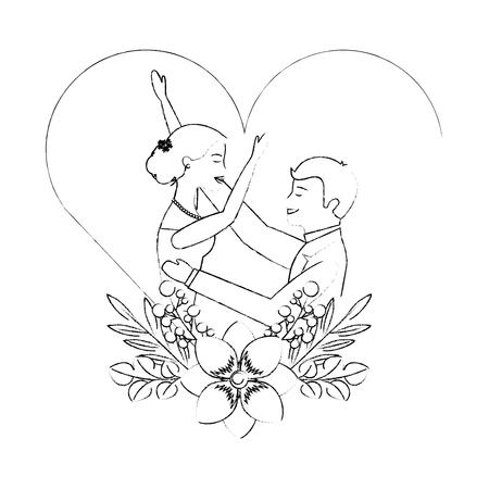 couple wedding day celebrating in heart flower decoration vector illustration sketch