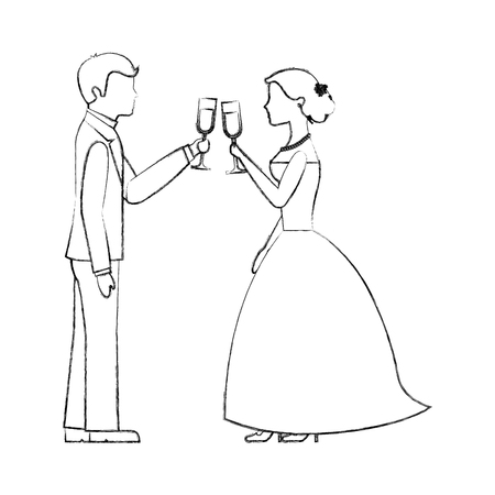 couple toasting wine glasses in wedding day vector illustration sketch Çizim