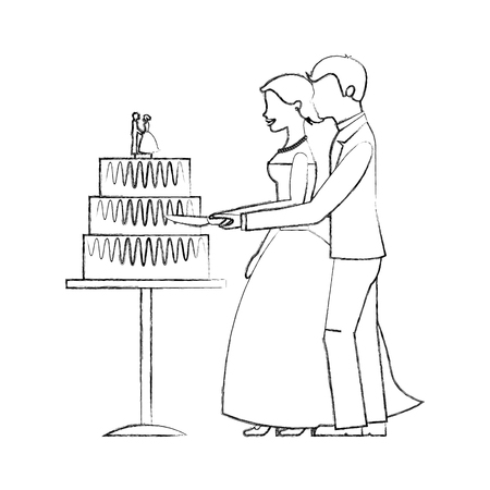 bride and groom cutting wedding cake vector illustration sketch