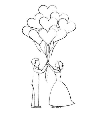 bruid en bruidegom met ballonnen harten trouwdag vector illustratie schets