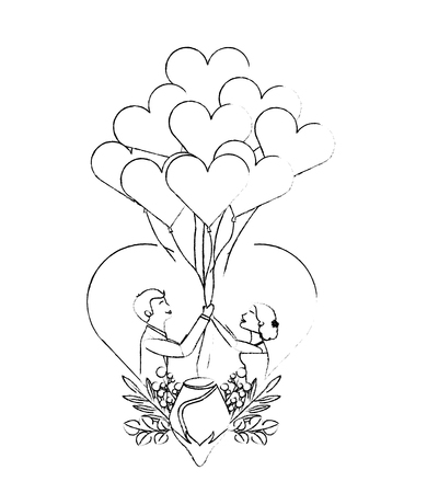 bride and groom with balloons in heart wedding day vector illustration sketch