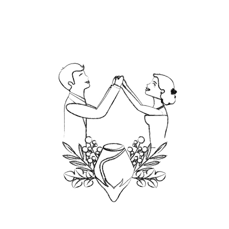 bride and groom holding hands in heart vector illustration sketch