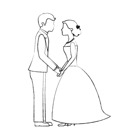 wedding day bride and groom holding hands vector illustration sketch