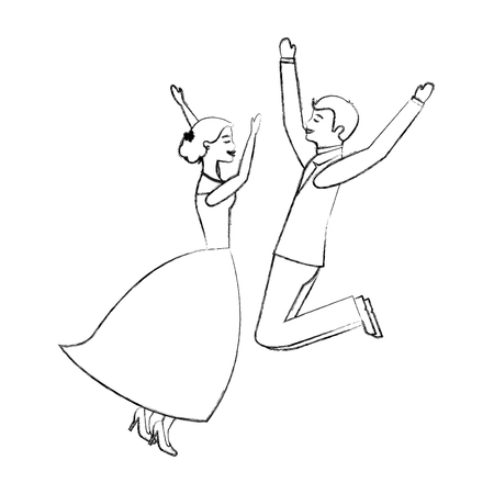 bride and groom jumping celebrating wedding day vector illustration sketch