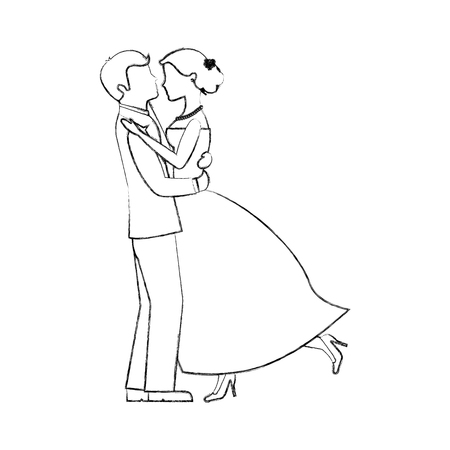happy bride and groom and their first dance wedding day vector illustration sketch Stock Photo