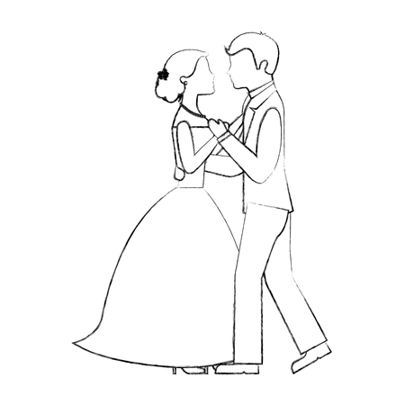 happy bride and groom and their first dance wedding day vector illustration sketch 写真素材