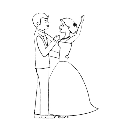 happy bride and groom and their first dance wedding day vector illustration sketch Illustration