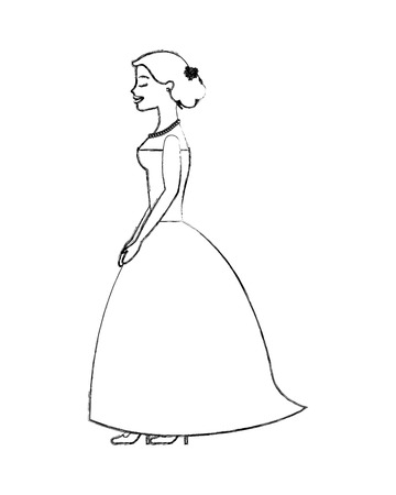 beautiful bride standing wedding day side view vector illustration sketch  イラスト・ベクター素材