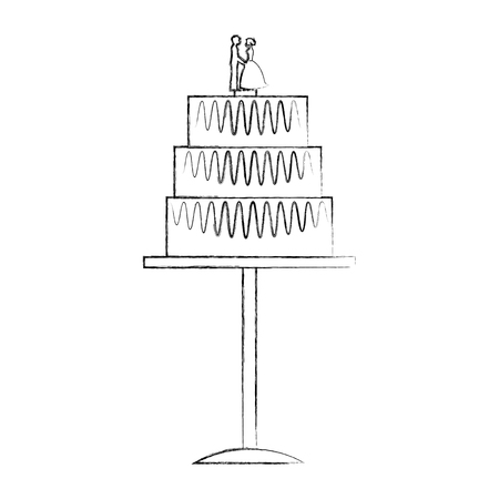 bride and groom dolls in wedding cake vector illustration sketch Illustration