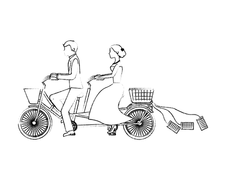 bride and groom on tandem bicycle wedding day vector illustration sketch
