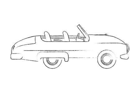 car convertible vintage transport image vector illustration sketch