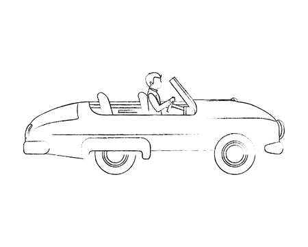 groom man in car convertible vector illustration sketch
