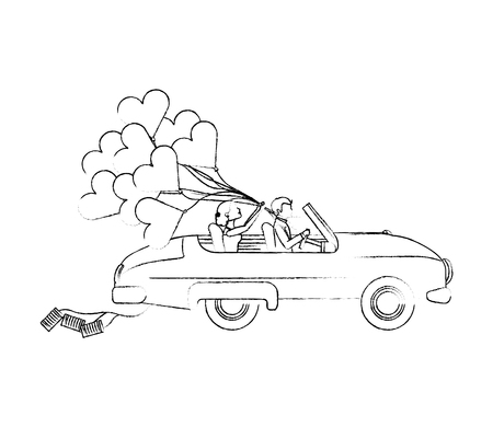 bride and groom couple in convertible car with balloons vector illustration sketch Illustration