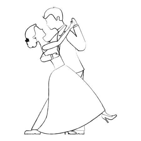 happy bride and groom and their first dance wedding day vector illustration sketch  イラスト・ベクター素材