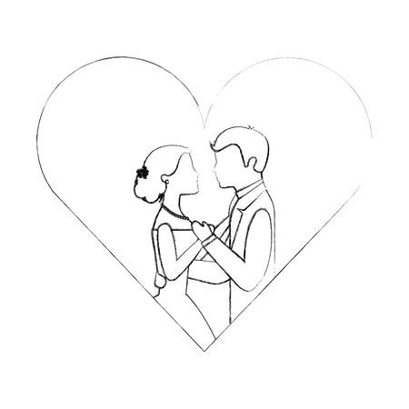 cute bride groom dancing heart love vector illustration sketch Иллюстрация