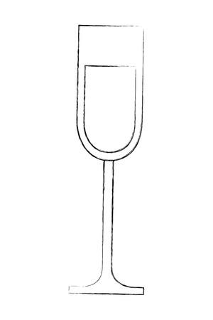 champagne glass cup drink celebration vector illustration sketch