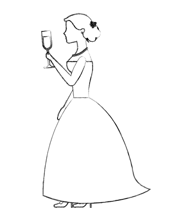 bride holding champagne wine glass wedding day vector illustration sketch