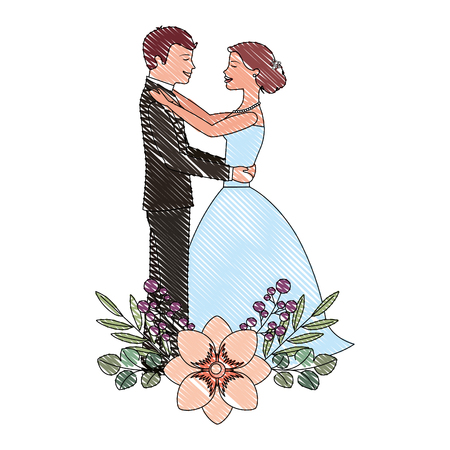 bride and groom embraced wedding day flowers decoration vector illustration drawing Illustration