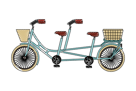 classic tandem bicycle with basket vector illustration drawing