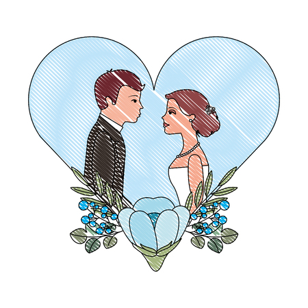couple wedding day flowers in heart love vector illustration drawing