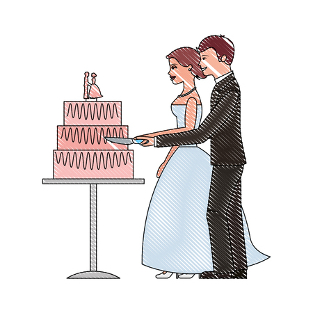 bride and groom cutting wedding cake vector illustration drawing