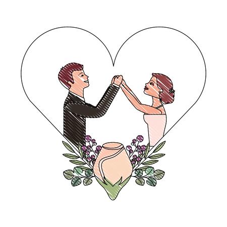 bride and groom holding hands in heart vector illustration drawing Иллюстрация