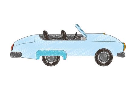 car convertible vintage transport image vector illustration drawing