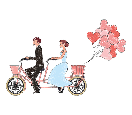 bride and groom on tandem bicycle wedding day vector illustration drawing