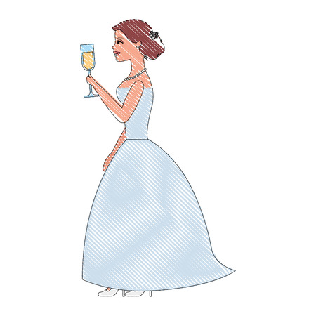 bride holding champagne wine glass wedding day vector illustration drawing