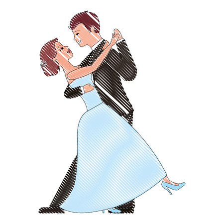 happy bride and groom and their first dance wedding day vector illustration drawing