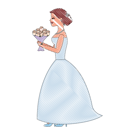 beautiful bride with bouquet flowers wedding day vector illustration drawing