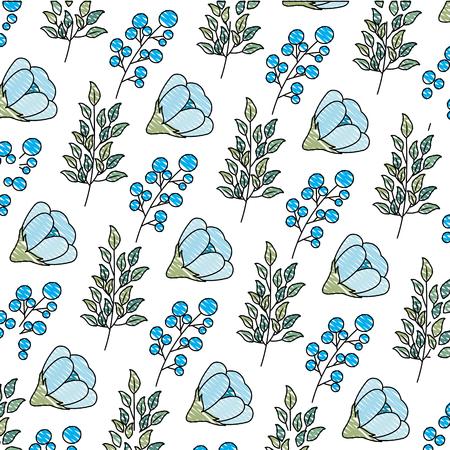 flower seeds branch decoration background vector illustration