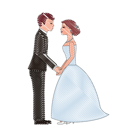 wedding day bride and groom holding hands vector illustration drawing