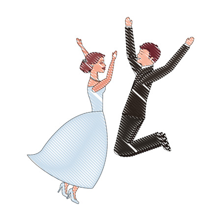 bride and groom jumping celebrating wedding day vector illustration drawing Illustration