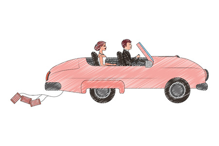 young couple in the car on their wedding day vector illustration drawing
