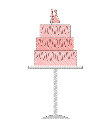 bride and groom dolls in wedding cake vector illustration drawing