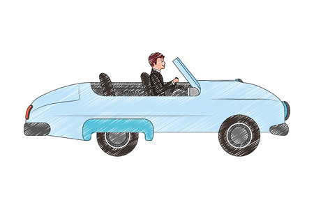 groom man in car convertible vector illustration drawing