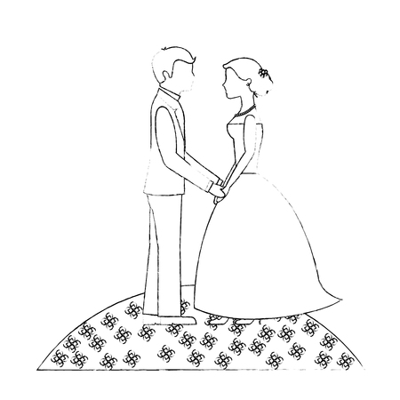bride and groom holding hands in the field flowers vector illustration sketch