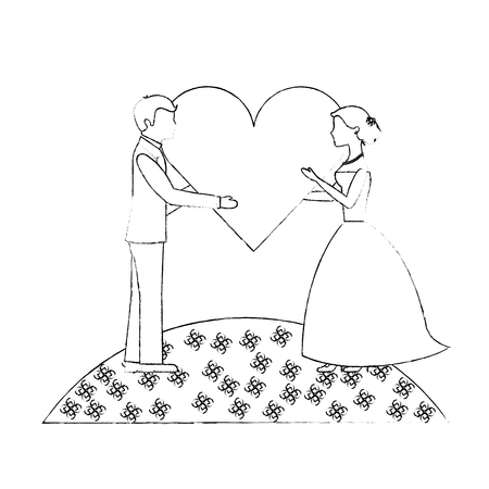 bride and groom with heart wedding day vector illustration sketch