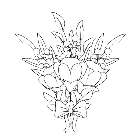flowers bouquet arrangement floral ornament ribbon vector illustration sketch