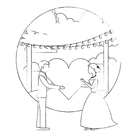 bride and groom with heart wedding day in natural scene vector illustration sketch